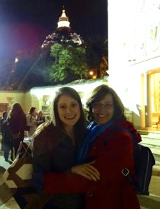 Kate McElwee and Deb Rose-Milavec inside the Vatican, after the day's events.